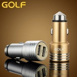 Golf ® Safety Hammer Metal Alloy Dual USB Bullet Window Breaker Charger