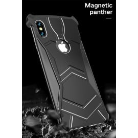 VAKU ® Apple iPhone XS Max Magnetic Panther Aluminium Metal Shock-Proof Anti-Fall Bumper Back Cover
