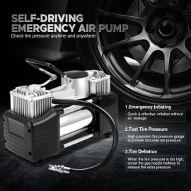 VAKU ® 12V Heavy Duty Air Compressor Ideal for inflating many types of tires including 4WD vehicles and tractor tires