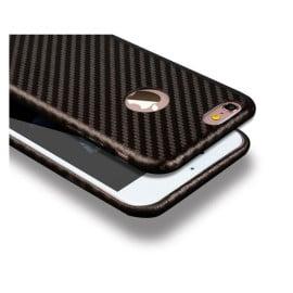 WUW ® Apple iPhone 6 / 6S Carbon Fiber Finish Ultra-Light & Thin Logo Display Grip Back Cover