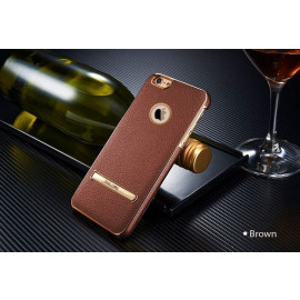 Yolope ® Apple iPhone 6 / 6S Ultra-thin Leather Metal Electroplating with Logo Display + Inbuilt Click Metal Stand Back Cover