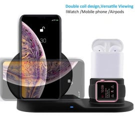 Vaku ® 3-in-1 Wireless 10W Fast-Charging QI Wireless Charging Dock Station for Apple iPhone, Apple Watch & Airpods with QC 3.0 USB charger FREE