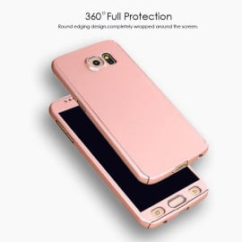 i-Paky ® Samsung Galaxy Note 5 360 Full Protection Metallic Finish 3-in-1 Ultra-thin Slim Front Case + Tempered + Back Cover