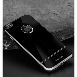 Shengo ® Apple iPhone 7 Onyx Black Liner Series 2K Electroplated Finish Logo Display TPU Back Cover-Gray