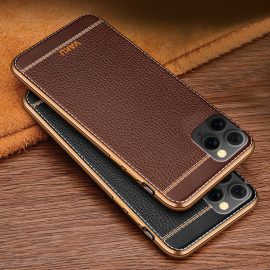 Vaku ® For Apple iPhone 11 Pro Leather Stitched Gold Electroplated Soft TPU Back Cover