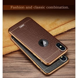 VAKU ® Apple iPhone X / XS European Leather Stitched Gold Electroplated Soft TPU Back Cover