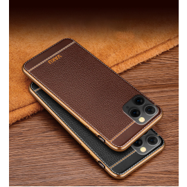 Vaku ® For Apple iPhone 11 Pro Max Leather Stitched Gold Electroplated Soft TPU Back Cover