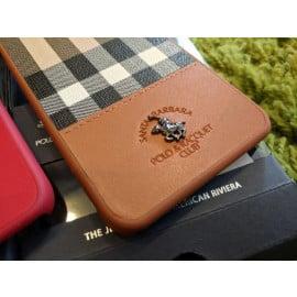 Santa Barbara Polo Club ® Apple iPhone SE 2020 Plaide Series Chequered Design Elegant Faux Leather Back Cover