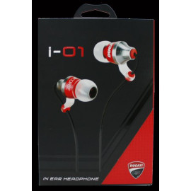 Ducati ® Official i-01 Deluxe Metallic High Fidelity 102dB In-Ear Headphones + Mic + Remote with Gold-plated Jack Earphone Black