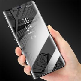 Vaku ® OnePlus 6 Mate Smart Awakening Mirror Folio Metal Electroplated PC Flip Cover