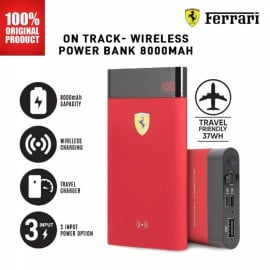 Scuderia Ferrari ® Ferrari Logo 8000 mAh wireless Charging Power Bank with LCD Display Indicator