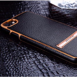 G-Case ® Apple iPhone 8 Ultra-thin Leather with Electroplating + Inbuilt Click Metal Stand Back Cover