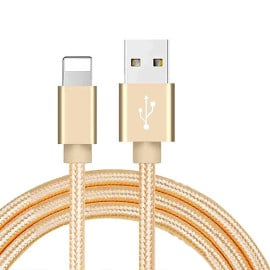 Vaku ® Nylon Braided USB Pack of 3, Type C, Micro USB, Apple Lightning Port Compatible Cables (3 Feet/0.9 Meter)