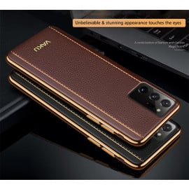Vaku ® Samsung Galaxy Note 20 Ultra Vertical  Leather Stitched Gold Electroplated Soft TPU Back Cover