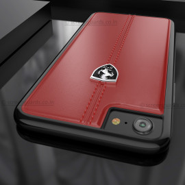Ferrari ® Apple iPhone 8 Vertical Contrasted Stripe - Material Heritage leather Hard Case back cover