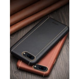 Vorson ® For Apple iPhone 8 Plus Trak Series Sport Textured Leather Dual-Stitching Metallic Electroplated Finish Back Cover
