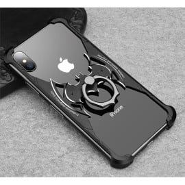 VAKU ® Apple iPhone X / XS Batman Black Aluminum Metal Back cover with 360 rotating Ring Holder
