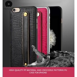 WUW ® Apple iPhone 6 / 6S Luxury Genuine Python Finish Leather + Hand-Grip Strap Back Cover