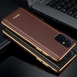 Vaku ® Oneplus 9 Vertical Leather Stitched Gold Electroplated Soft TPU Back Cover