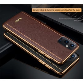 Vaku ® Oneplus 9 Pro Vertical Leather Stitched Gold Electroplated Soft TPU Back Cover
