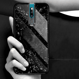 VAKU ® Oppo F11 Pro Glossy Marble with 9H hardness tempered glass overlay Back Cover