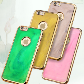 MeePhone ® For Apple iPhone 6 Plus / 6S Plus Jade Precious Stone Finish Gold Electroplated Bumper + Metallic Logo Display Silicon Back Cover