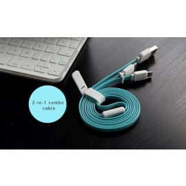 Rock ® Dual Inbuilt Convenient 2 in 1 Lightning Port + Micro USB Combo Charging / Data Cable
