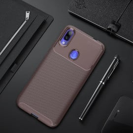 VAKU ® Xiaomi Redmi Note 7 / Note 7 Pro Synthetic Carbon Fiber with PU Back Shell Back Cover