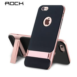 Rock ® Apple iPhone 6 / 6S Royle Case Ultra-thin Dual Metal + inbuilt Stand Soft / Silicon Case