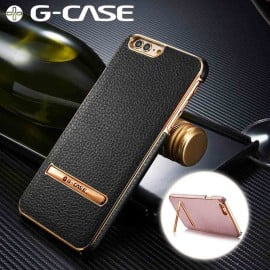 G-Case ® Apple iPhone 8 Plus Ultra-thin Leather with Electroplating + Inbuilt Click Metal Stand Back Cover