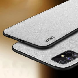 Vaku ® Samsung Galaxy M31S Luxico Series Hand-Stitched Cotton Textile Ultra Soft-Feel Shock-proof Water-proof Back Cover