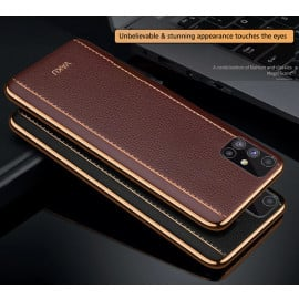 Vaku ® Samsung Galaxy M51 Vertical  Leather Stitched Gold Electroplated Soft TPU Back Cover