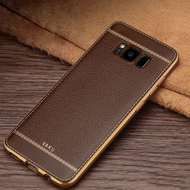 Vaku ® Samsung Galaxy S8 Plus Leather Stitched Gold Electroplated Soft TPU Back Cover