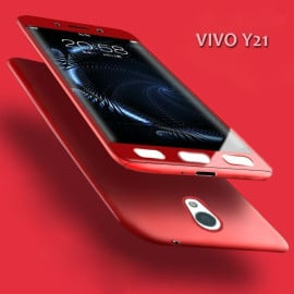 Vaku ® Vivo Y21 / Y21L 360 Full Protection Metallic Finish 3-in-1 Ultra-thin Slim Front Case + Tempered + Back Cover