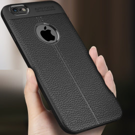 Vaku ® Apple iPhone 6 / 6S Auto Focus Leather Stitched Edition Soft Silicone 4 Frames plus ultra-thin case transparent cover