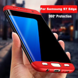 FCK ® SAMSUNG S7 Edge 3 IN 1 360 Series PC Case Dual-Colour Finish 3-in-1 Ultra-thin Slim Back Cover  + Upper & Lower Front