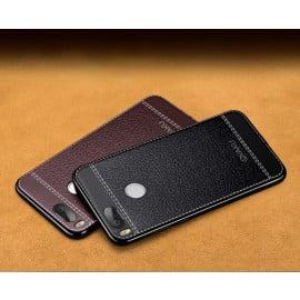 Vaku ® Xiaomi Mi A1 Leather Stitched Gold Electroplated Soft TPU Back Cover