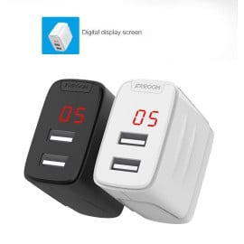 Joyroom ® 2.4A Fast Charging Digital LED Display Screen Dual-USB Port Travel Charger
