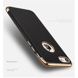 VAKU ® Apple iPhone 7 Plus Clint Leather Grained Series Ultra-thin Metal Electroplating Splicing PC Back Cover