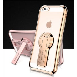 MeePhone ® Apple iPhone 5 / 5S / SE Metal Electroplated Bumper with FullView Transparent Finish + inbuilt Kickstand Back Cover