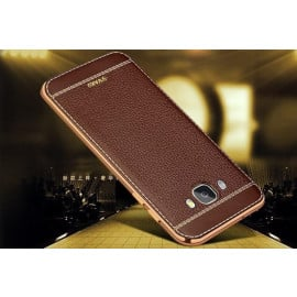 VAKU ® Samsung Galaxy ON 7 Leather Stitched Gold Electroplated Soft TPU Back Cover