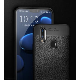 Vaku ® Vivo V9 Kowloon Double-Stitch Edition Silicone Leather Texture Finish Ultra-Thin Back Cover