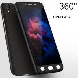 Vaku ® OPPO A37 360 Full Protection Metallic Finish 3-in-1 Ultra-thin Slim Front Case + Tempered + Back Cover