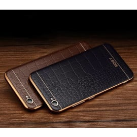 VAKU ® OPPO F1S European Leather Stitched Gold Electroplated Soft TPU Back Cover