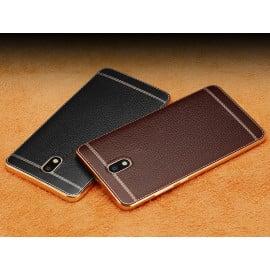 Vaku ® Samsung Galaxy J7 Pro Leather Stitched Gold Electroplated Soft TPU Back Cover