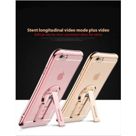 MeePhone ® For Apple iPhone 6 / 6S Metal Electroplated Bumper with FullView Transparent Finish + inbuilt Kickstand Back Cover