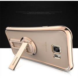 MeePhone ® For Samsung Galaxy S7 Edge Metal Electroplated Bumper with FullView Transparent Finish + inbuilt Kickstand Back Cover