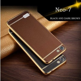 VAKU ® OPPO NEO 7 Leather Stiched Gold Electroplated Soft TPU Back Cover