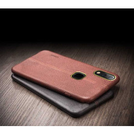 Vaku ® Vivo Y85 Lexza Series Double Stitch Leather Shell with Metallic Camera Protection Back Cover
