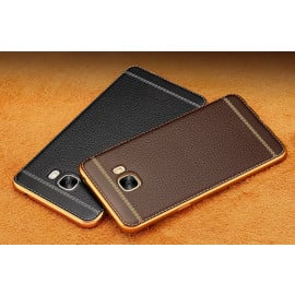 Vaku ® Samsung Galaxy C7 Pro Leather Stitched Gold Electroplated Soft TPU Back Cover